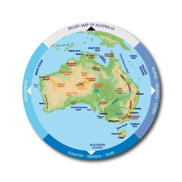 Australias Physical Map MAPCAT Taulacat - Australia physical map